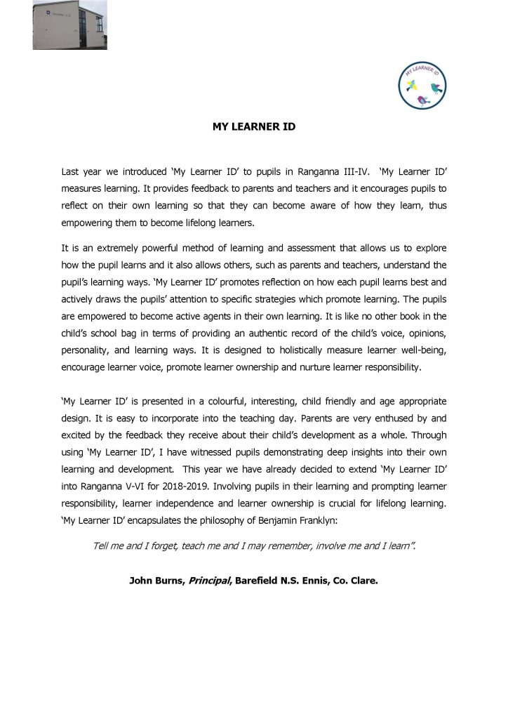 Testimonial from John Burns, Principal of Barefield NS, Ennis, Co. Clare