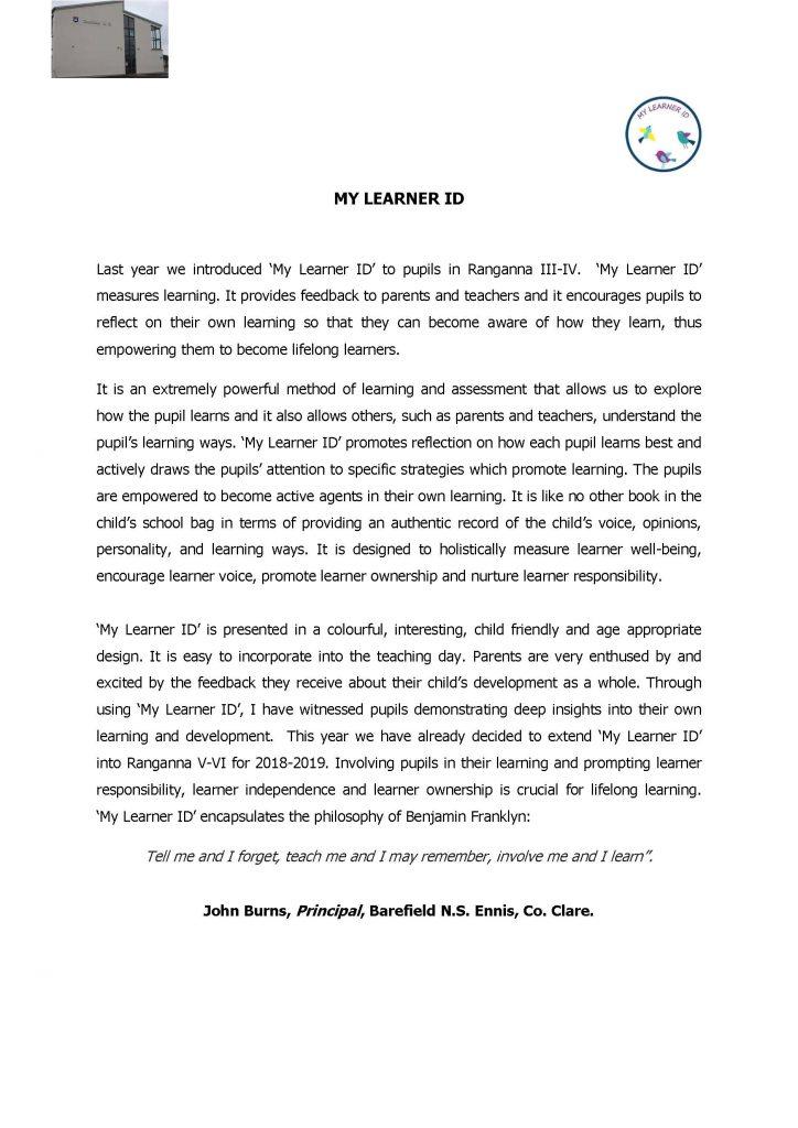 Testimonial from John Burns, Principal of Barefield NS, Ennis, Co. Clare